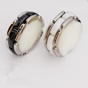 Image 4 - Luxury jewelry 2020 new ring men and women strap ceramic double row black and white couple stainless steel punk gift wholesale