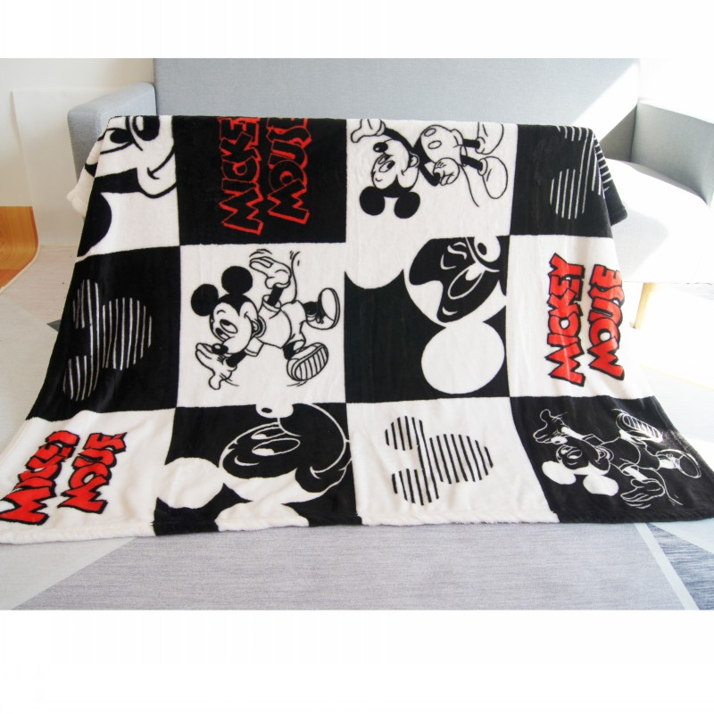 Disney Black White Plaid Mickey Mouse Coral Fleece Blanket Throw on Bed/Sofa/Plane 100x140cm for Boys Girls Christmas as Gifts(China)