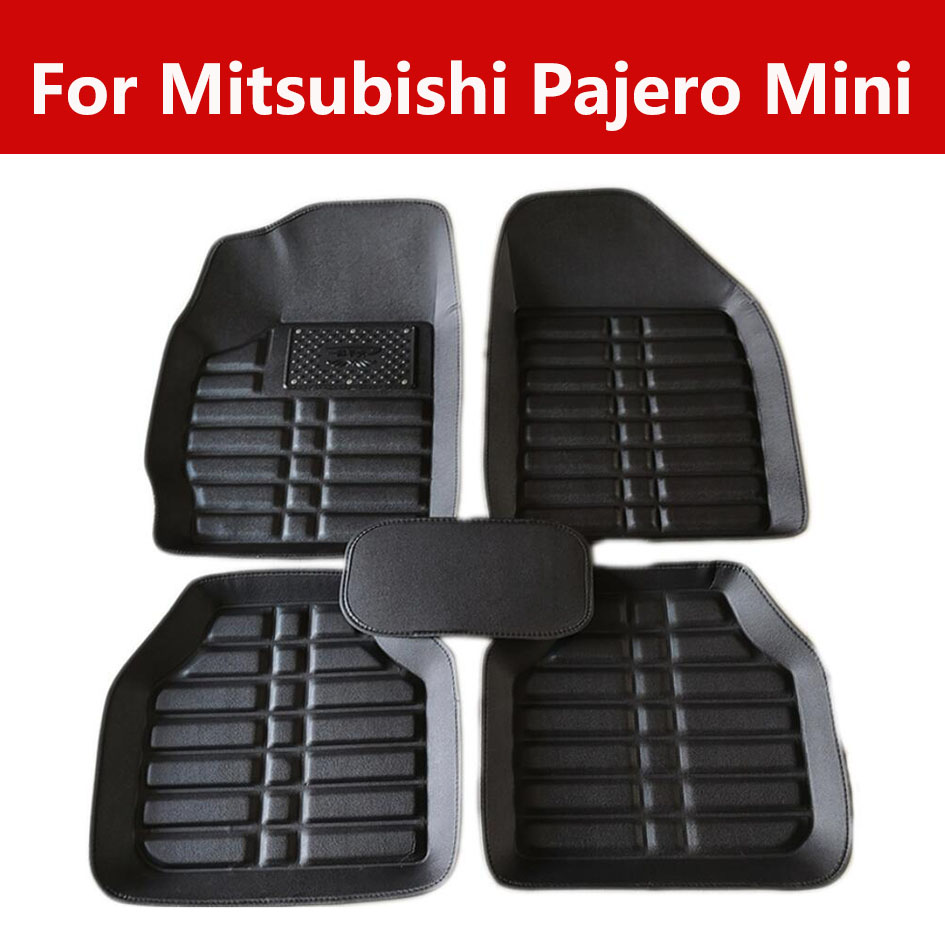 Car Floor Mats Auto Leather Carpet For Mitsubishi Pajero Mini Leather Front&Rear Waterproof|Floor Mats| |  - title=