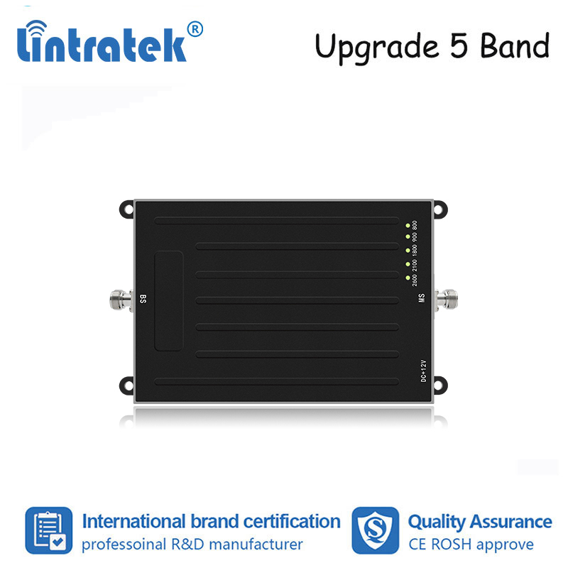Lintratek New ALC 5 Band 2G 3G 4G Mobile Phone Signal Repeater GSM 900 Umts 2100 LTE 800/900/1800/2100/2600 Booster Amplifier Dd