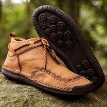 Brand Winter Men's Boots Plush Warm Men's Snow Boots Autumn Outdoor Men's Ankle Boots Lace-Up Motorcycle Boots Zapatos De Hombre
