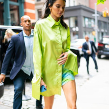 Осень, длинный рукав, отложной воротник, свободная длинная уличная блуза из вискозы и спандекса неонового зеленого цвета, женская рубашка большого размера MF946