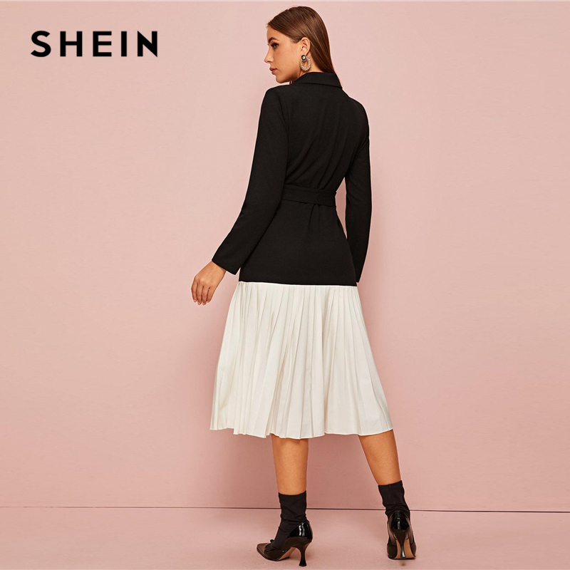 SHEIN Notched Collar Double Breasted Pleated Hem Belted Elegant Dress Women Autumn Long Sleeve Colorblock Midi Blazer Dresses 2