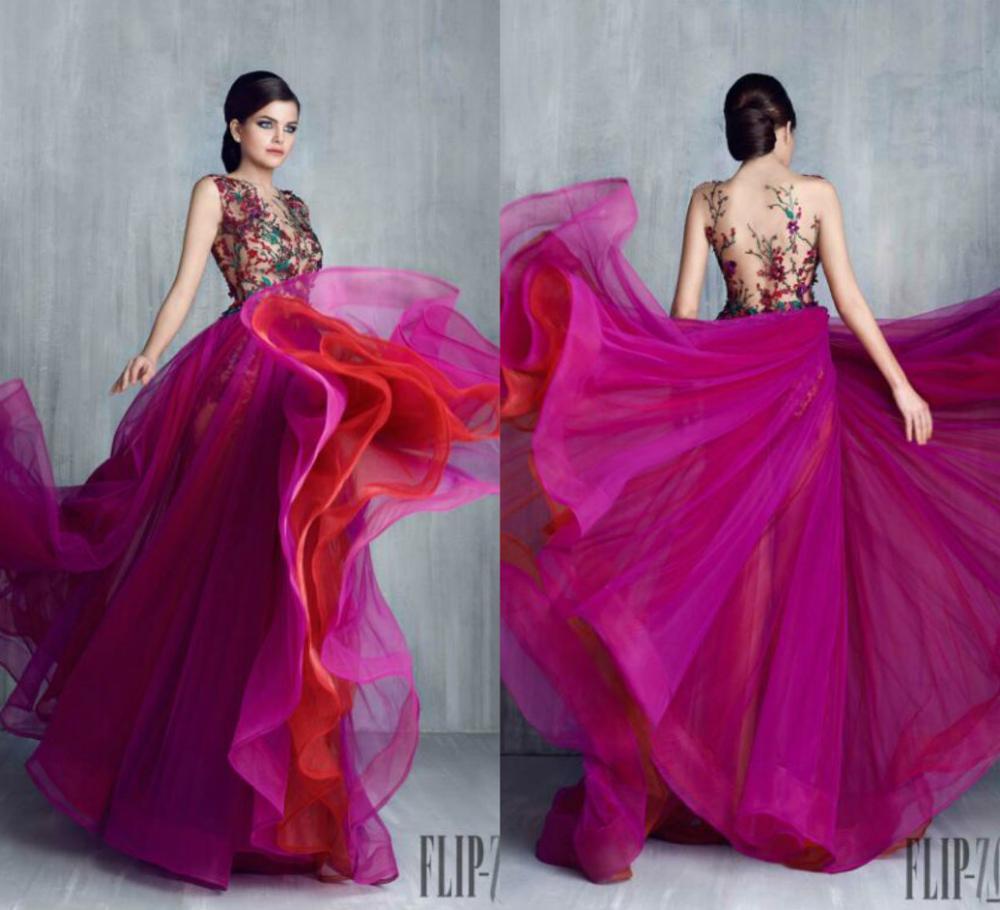 Rainbow suknie balowe Sheer Jewel Neck koronkowe aplikacje koraliki bez rękawów Sexy formalna sukienka Party wielowarstwowa spódnica wieczór Gowms