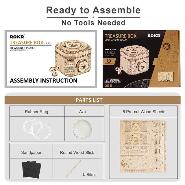деревянный 3d пазл lk502robotime коробка для хранения с паролем фотография