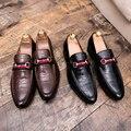 Мужская повседневная обувь для ленивых остроконечные кожаные туфли  удобные кроссовки  змеиная кожа  38-47