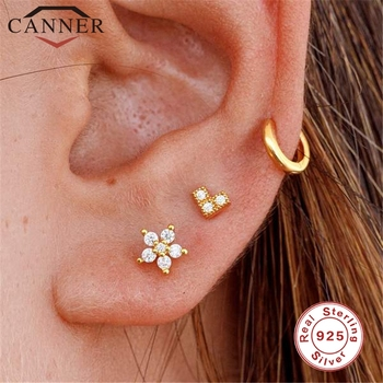 1PC Fashion Cz Ear Studs Cartilage Earring for Women 925 Sterling Silver Zircon Small Stud Earring Ear Piercing Jewelry Gifts ani 925 sterling silver women stud earring cz earring handmade jewelry bird shape design brincos para as mulheres 925 jewelry