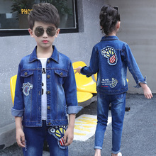 цена на 2019 Boys Clothing Sets Spring Autumn Children Sport Suit Boys Clothes Long Sleeve Set Costume for Kids Jacket+Jeans 2Pcs Suits