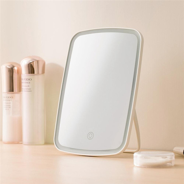 Portable Makeup Mirror LED Natural Light USB Refill Angle Adjustable Touch Control Brightness Dimmable Lights Women 2