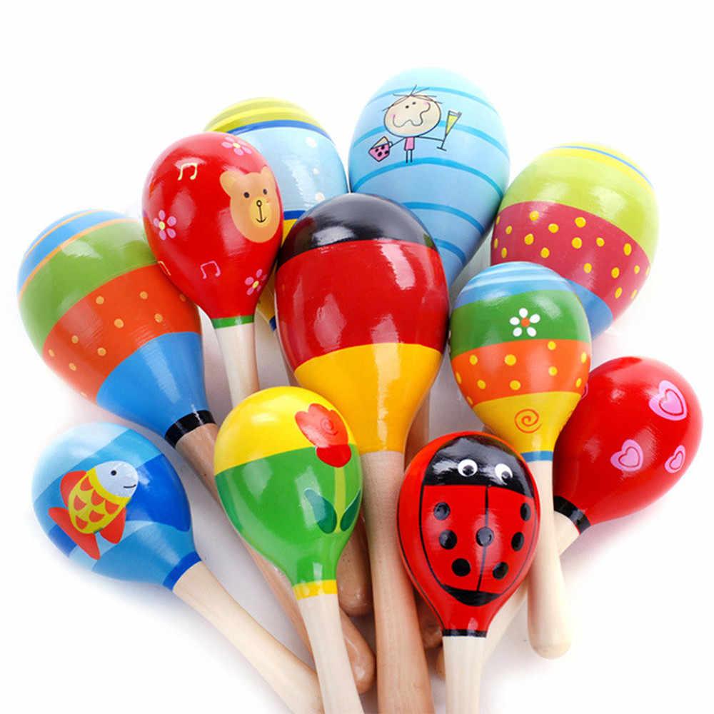 Rastgele renk Mini ahşap top çocuk oyuncakları perküsyon müzik aletleri kum çekiç bebek bebek çocuk eğitici oyuncaklar