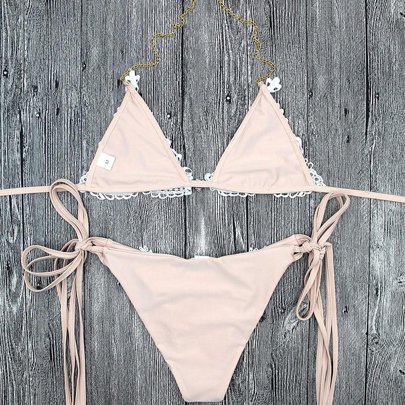2 pçs sexy lantejoulas rendas biquini dividir sexy com alças de biquíni nu strass beachwear push up bikini com almofada no peito 2