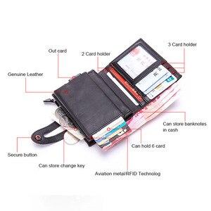 Image 4 - DIENQI Vintage Leather RFID Blocking Card Holder Mens Smart Business Wallet Big Bank Creditcard Holder Pocket Case Protector Bag