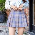 XLOTUS Plaid Sommer Frauen Rock 2020 Hohe Taille Nähte Student Plissee Röcke Frauen Nette Süße Mädchen Dance Mini Rock