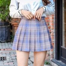 XLOTUS Plaid Summer Women Skirt 2020 High Waist Stitching Student Pleated Skirts Women Cute Sweet Girls Dance Mini Skirt