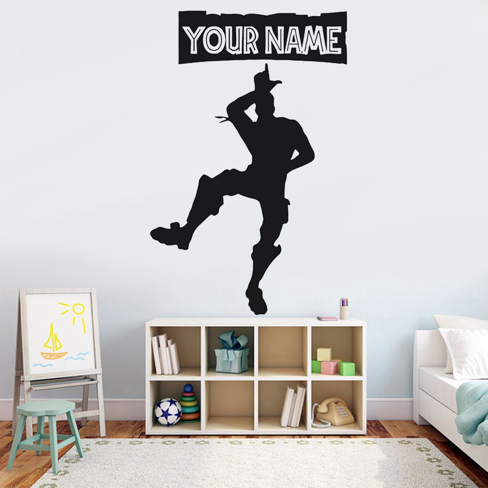 Game Custom Name Wall Sticker For Nursery Children Room Battle Royal PS4 Wall Decals For Kids Room Living Room Decor Y041 image