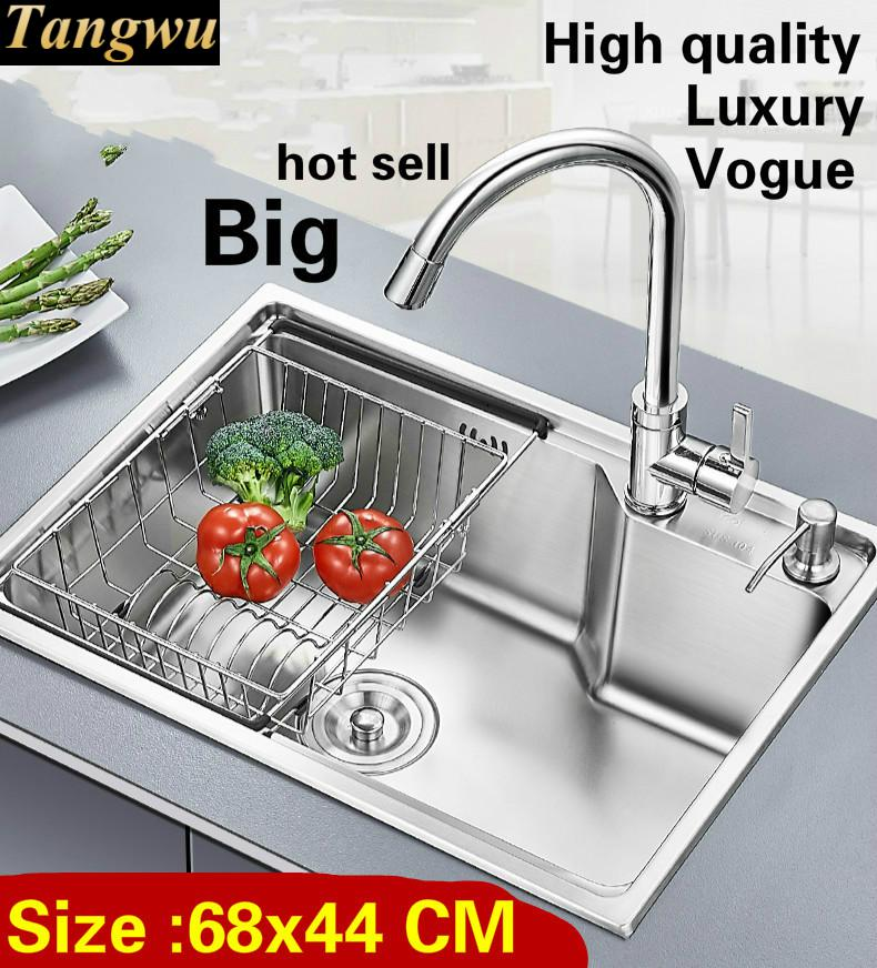 Free Shipping Apartment Vogue Large Luxury Kitchen Single Trough Sink Wash Vegetables 304 Stainless Steel 680x440 MM