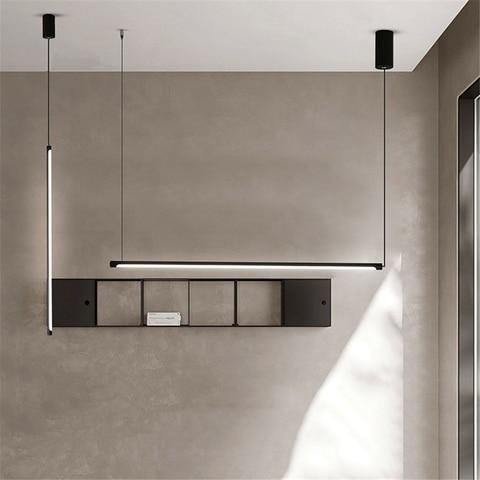 minimalismo linha moderna led luzes pingente nordic decoracao do escritorio iluminacao escurecimento loft luminaria cozinha