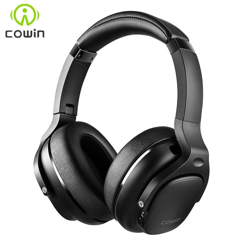 Cowin e9 active noise cancelling fones de ouvido bluetooth sem fio fone sobre a orelha com microfone aptx hd som