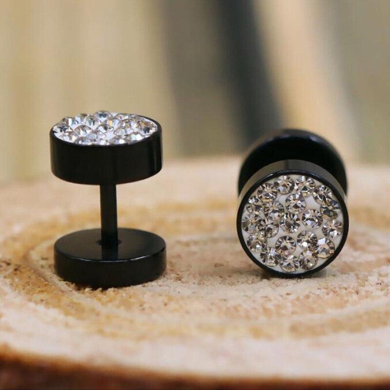 1Pair Black/Silver Color Men Barbell Punk Ear Studs Trendy Round Stainless Steel Crystal Rhinestone Stud Earrings For cool Men