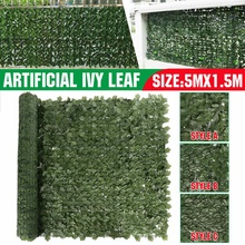 5x1.5m Artificial Ivy Leaf Roll Wall Plant Panel Green Leaf Fence Privacy Outdoor Garden Balcony Backyard Fence Decoration