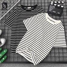 T-shirt rayé à manches courtes pour femme, ample et décontracté, de Style coréen, à la mode, Harajuku Ulzzang Bf, 2020