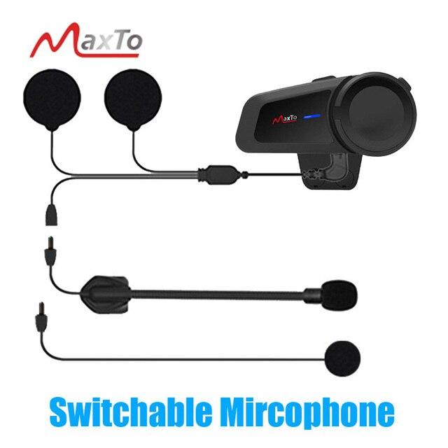 Maxto M2 Universal Motorrad für Volle/Halbe Gesicht Helm Headset 6 Fahrer Gruppe Reden Intercom Bluetooth 5,0 FM Radio kompatibel