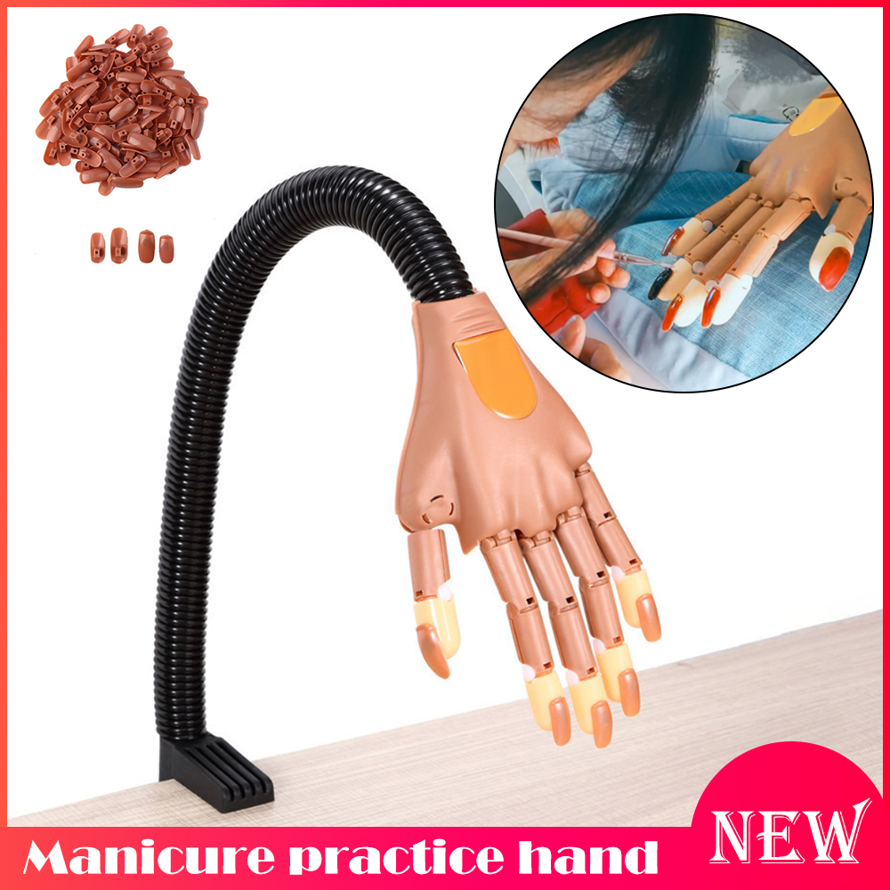 Manicure Practice Hand Flexible Reusable Hand Model Bendable Finger With Nail Tips Adjustable Training Model Hands