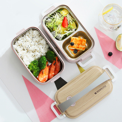 Microwave Double Layer Lunch Box 1200ml Wooden Feeling Salad Bento Box BPA Free Portable Container Box Workers Student
