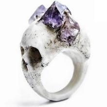 Женское индивидуальное кольцо креативный Серебряный Череп натуральный фиолетовый камень вечерние кольца преувеличенные ювелирные изделия для одежды аксессуары