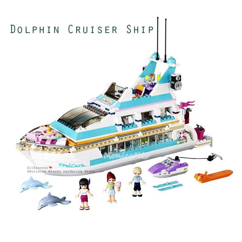 01044 Legoinglys Girl Friends Dolphin Cruiser Rescue Center Large Yacht Club Cruise Vessel Ship 41381 Building Blocks Brick Toys