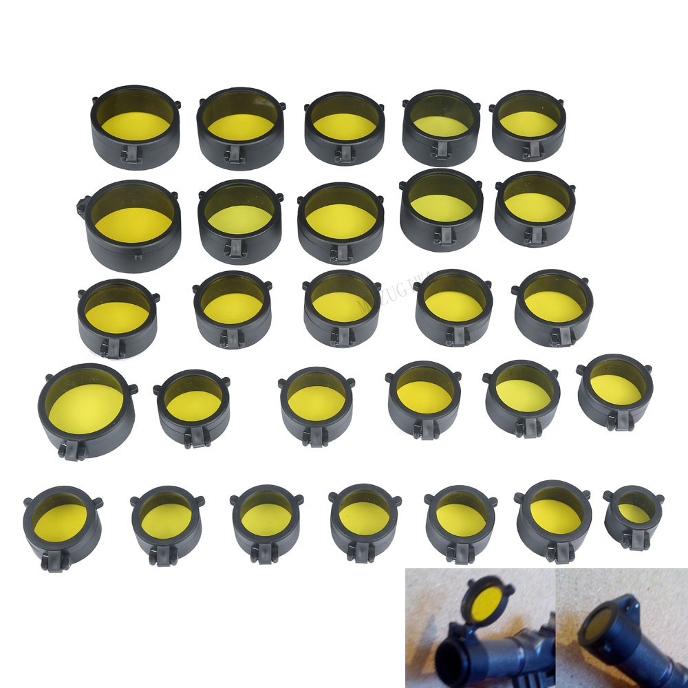 Transparent Rifle Scope Cover Protection 30mm-69mm Lens Cover Flip Up Quick Spring Cap Yellow Objective Lense Lid Hunting