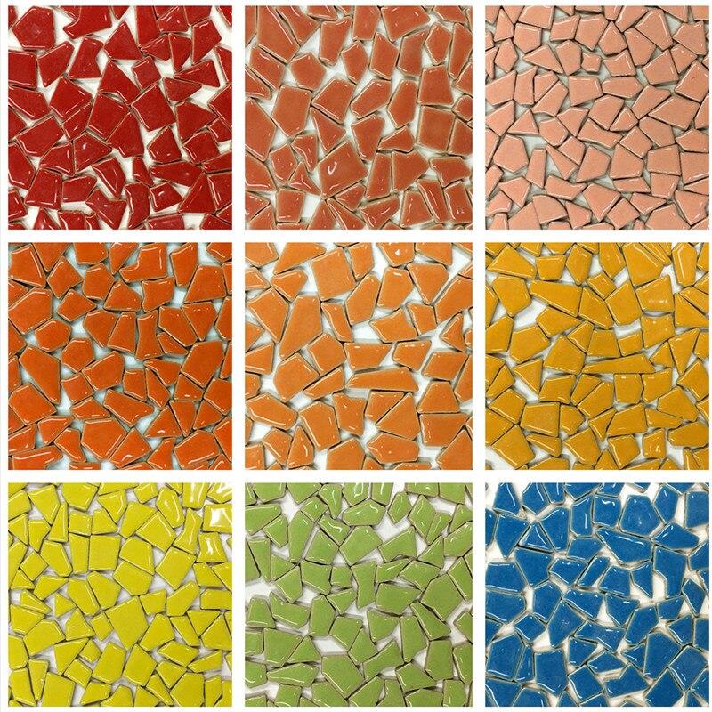 100g Gemischte Farbe DIY Keramik Mosaik Glas Spiegel Handgemachte Ornamente Fliesen Wand Zubehör Kerze Halter Lampenschirm Handwerk YLM8037