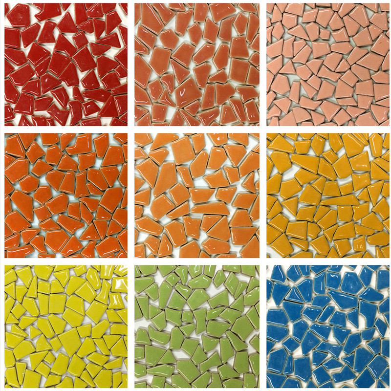 100g Mixed Color DIY Ceramic Mosaic Glass Mirror Handmade Ornaments Tiles Wall Accessory Candle Holder Lampshade Craft YLM8037