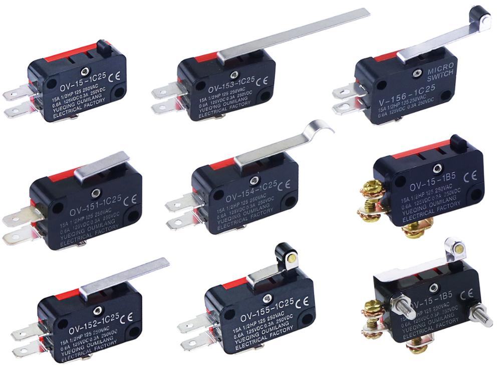AC 250V 5A 1NO 1NC SPDT Momentary Push Button Miniature Micro Switches 5 Pcs