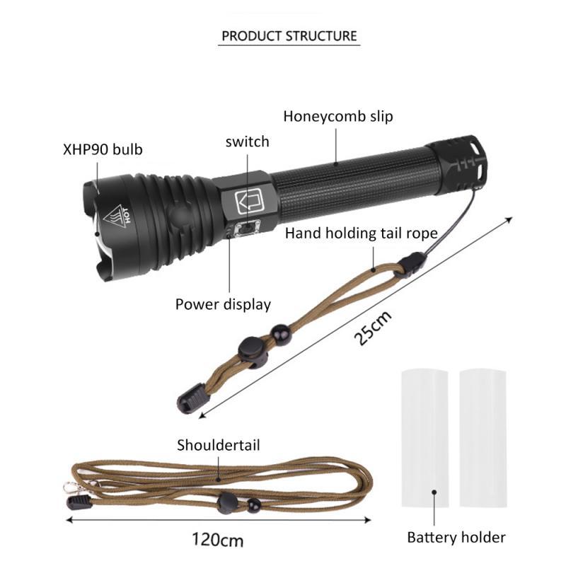 Prático lanterna p90 zoom xhp90 led brilho