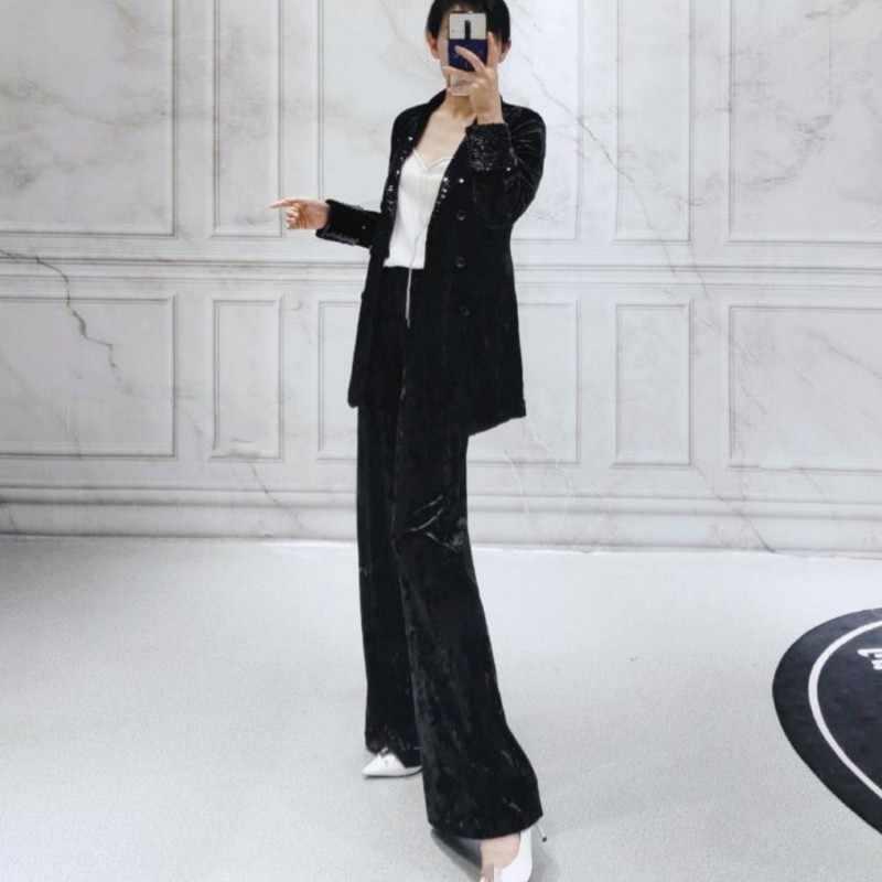 Chaqueta de lentejuelas de moda para mujer, pantalones de pierna ancha, conjunto de dos piezas, solapa elegante, doble botonadura, chaqueta Formal para mujer de oficina