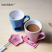 Chocolat marmite tasse tasse en céramique avec cuillère bougie bleu rose tasse hiver cadeau créatif pour les filles crème glacée fromage marmite 1109