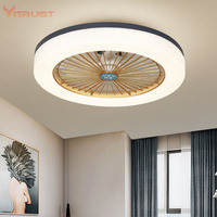 Ultra thin ceiling fan light invisible ceiling fan with light kits for restaurant bedroom lamp modern office ceiling lamp