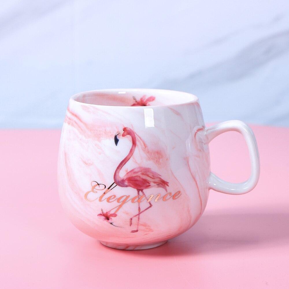 Купить креативные мраморные кофейные кружки фламинго 350 мл керамическая
