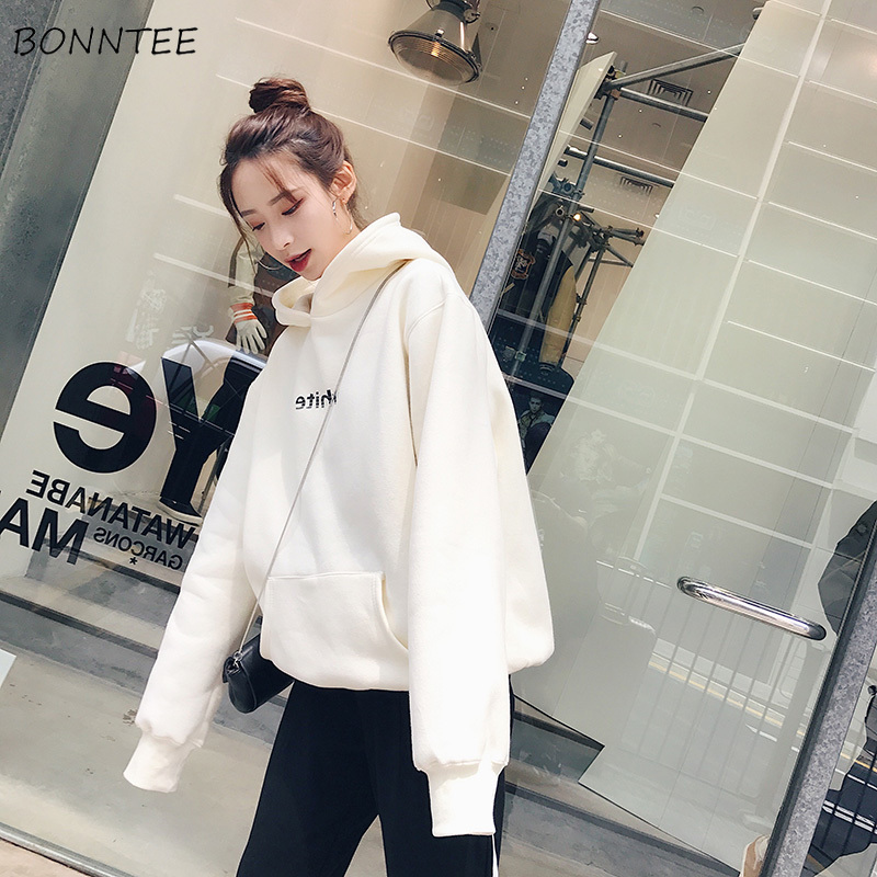 Hoodies Women Thicken Plus Size Winter Warm 2020 Letter Printed Leisure Cotton Womens Long Sleeve Loose Ladies Sweatshirts Chic