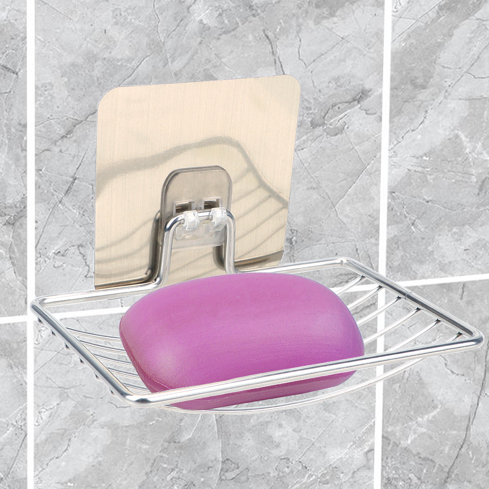 Self Adhesive Stainless Steel Soap Rack Home Storage Wall Storage Rack Holder Soap Dish Bathroom Storage