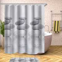 Gray Stone Shower Curtain Bathroom Many Style Waterproof Non-woven Shower Curtain Printing Curtains For Bathroom Shower