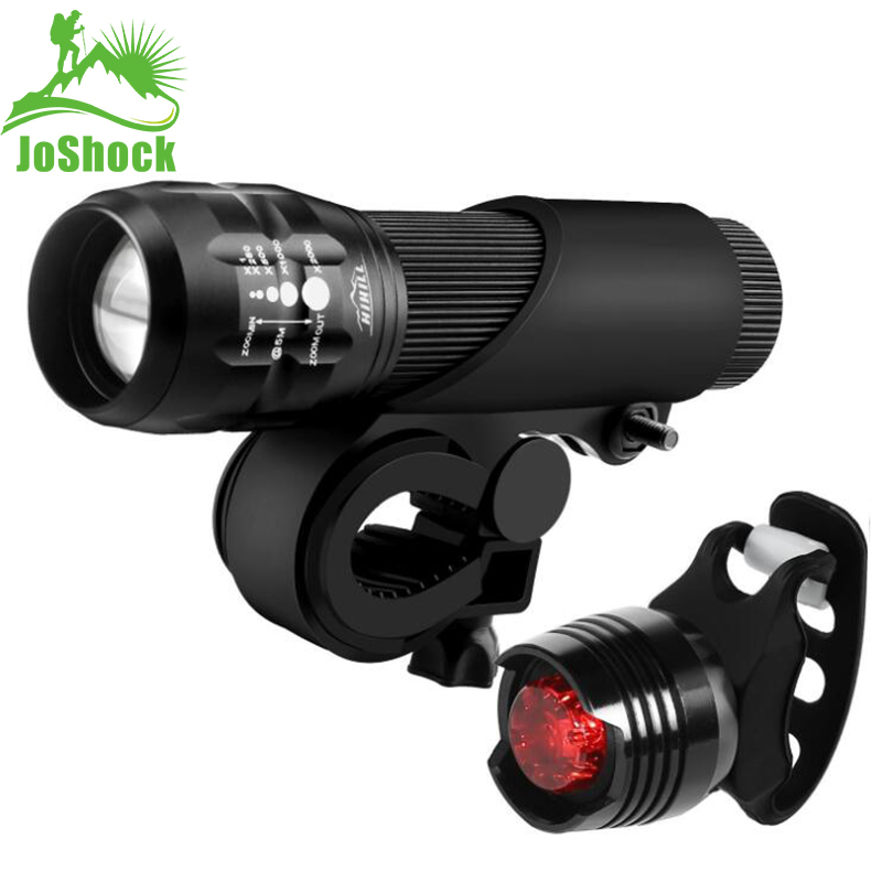 Joshock Bicycle Light  T6 LED cycling Front Light LED Bike light Lamp Safety Waterproof ZOOM Flashlight With Free Taillight