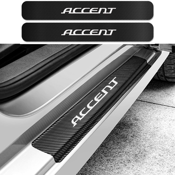 For Hyundai Accent 4PCS Car Carbon Door Sill Guard Stickers Auto Scuff Plate Anti Scratch Protector Decal Car Tuning Accessories 1