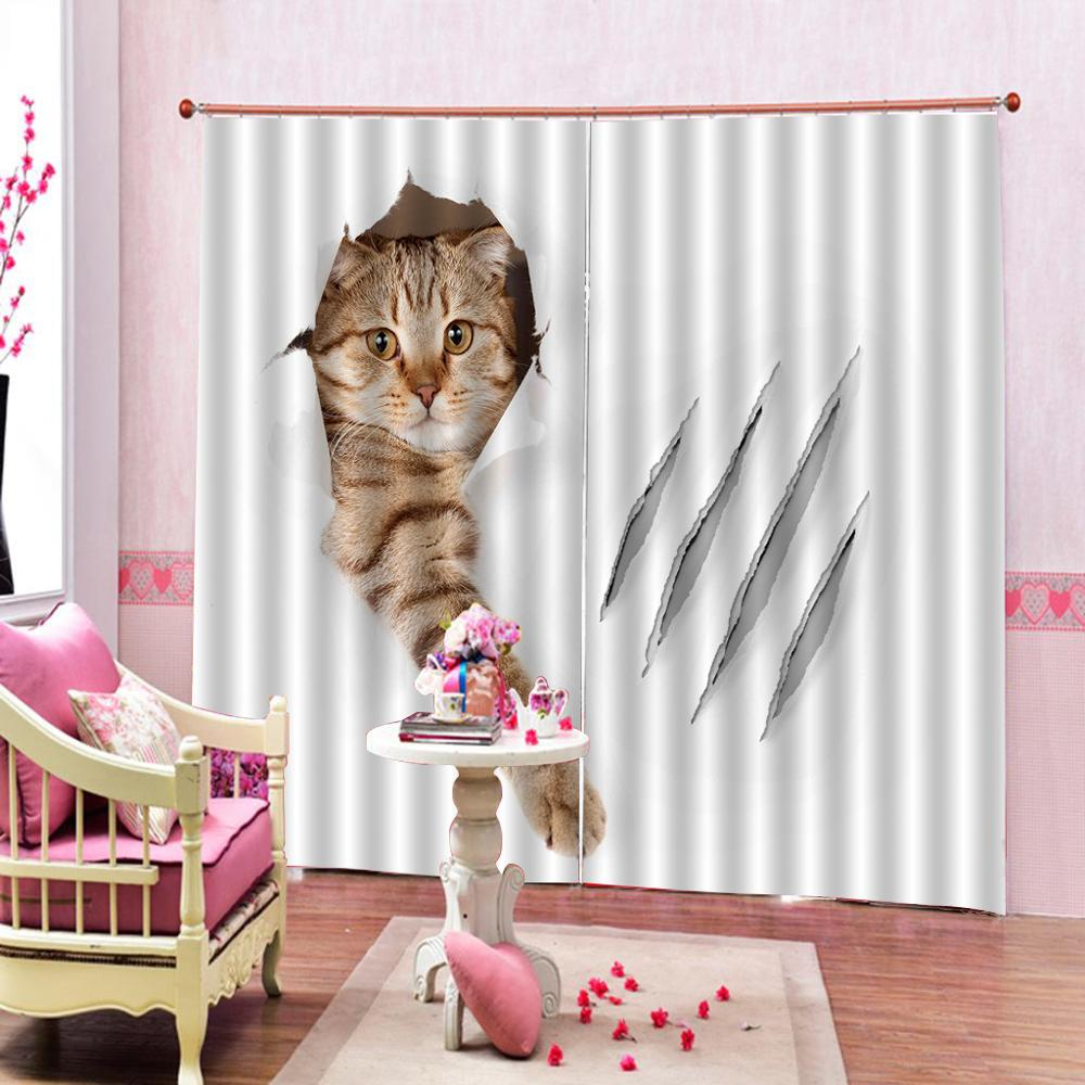 3D Digital Print curtains Customized size Luxury Blackout 3D Window Curtains For Living Room animal cat curtains