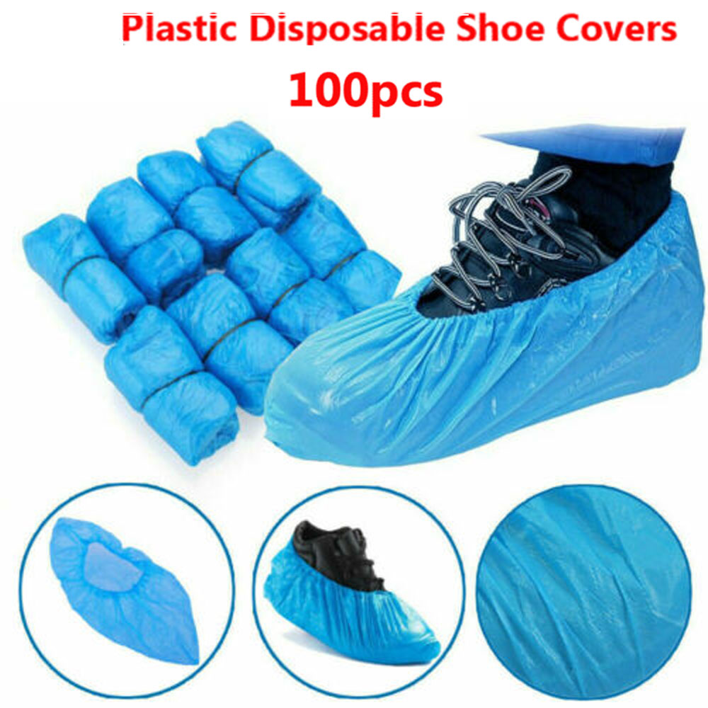 Medical Plastic Shoe Covers Disposable Anti-bacterial Nonskid Booties Overshoes Protective Overall Suit