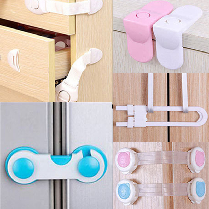 10pcs Child Lock Door Drawer Multi-function Lock Plastic Cabinet Lock Security Drawer Latches Kids Safety Baby Protection
