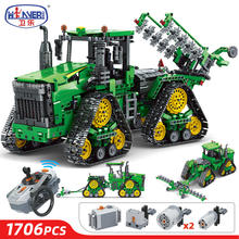 1706PCS 2.4GHZ City High-tech Series RC Crawler tractor Excavating Machinery Car Model Building Blocks Toys For Children