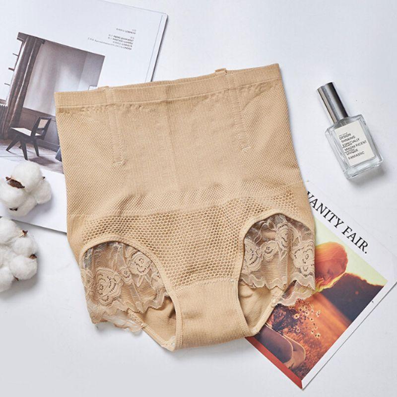Mujeres de cintura alta de cuerpo ropa interior de encaje bordado espera estómago bragas - 3