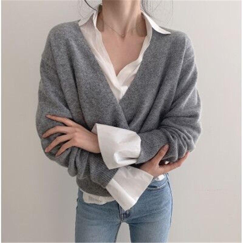 Купить женский элегантный пуловер с v образным вырезом вязаный свитер